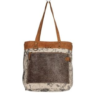 💥NEW💥Canvas and Cowhide Tote Bag with Leather